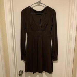 BCBGMaxAzria Dresses - BCBGMaxAzria Brown Long Sleeve Scoop Dress NWT